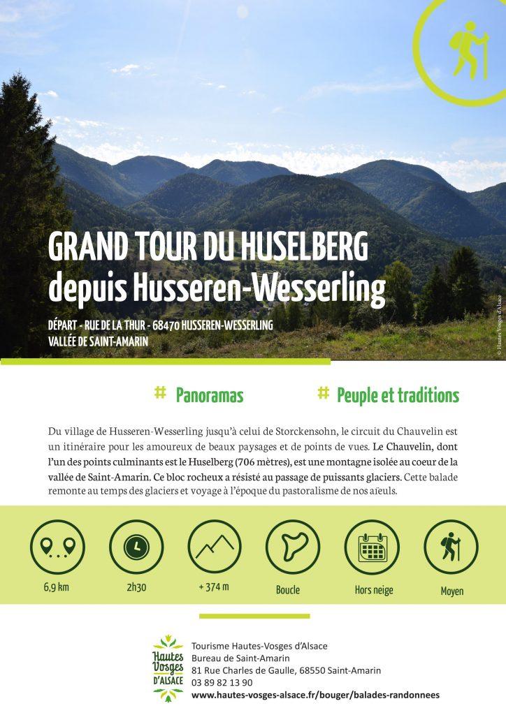 """Grand tour Huselberg Husseren-Wesserling"""" Profitez de votre séjour dans l'un de nos deux gites du Kapellmatt à Urbes juste avant le Bussang et découvrez du village de Husseren-Wesserling jusqu'à celui de Storckensohn, le circuit du Chauvelin qui est un itinéraire pour les amoureux de beaux paysages et de points de vues. Le Chauvelin, dont l'un des points culminants est le Huselberg (706 mètres), est une montagne isolée au coeur de la vallée de Saint-Amarin. Ce bloc rocheux a résisté au passage de puissants glaciers. Cette balade remonte au temps des glaciers et voyage à l'époque du pastoralisme de nos aïeuls. Il reste encore quelques disponibilités pour passer de belles vacances ou quelques jours au calme dans un des deux chalets en bois aux pieds des Vosges près de Saint Amarin."""